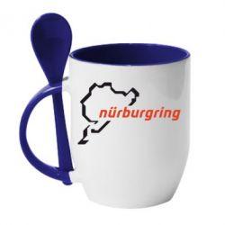Кружка с керамической ложкой Nurburgring - FatLine
