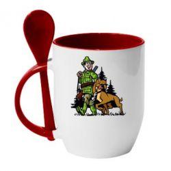 Кружка с керамической ложкой Охотник с собакой - FatLine