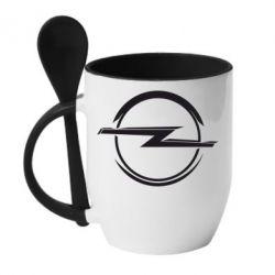 Кружка с керамической ложкой Opel Log - FatLine