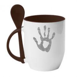 Кружка с керамической ложкой Отпечаток руки - FatLine