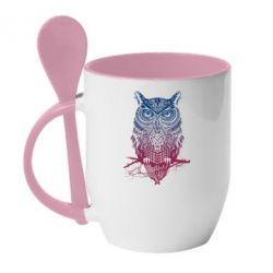 Кружка с керамической ложкой Owl Art - FatLine