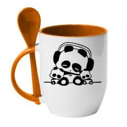 Кружка с керамической ложкой Панда в наушниках - FatLine
