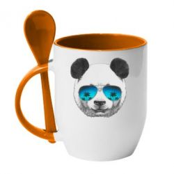 Кружка с керамической ложкой Панда в очках - FatLine