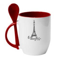 Кружка с керамической ложкой Paris - FatLine