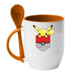 Кружка с керамической ложкой Pikachu in pocket - FatLine
