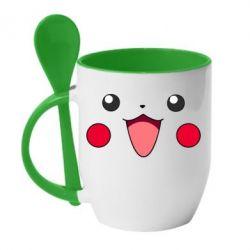 Кружка с керамической ложкой Pikachu Smile - FatLine