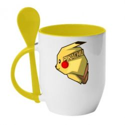 Кружка с керамической ложкой Pikachu - FatLine