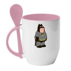 Кружка с керамической ложкой Питер Гриффин Бэтмен - FatLine