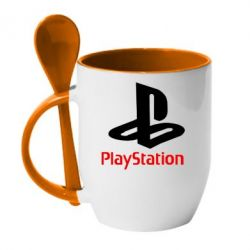 Кружка с керамической ложкой PlayStation - FatLine