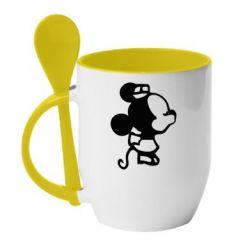 Кружка с керамической ложкой Поцелуй мышек (ж) - FatLine