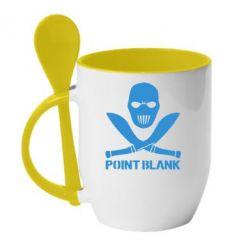 Кружка с керамической ложкой Point Blank - FatLine