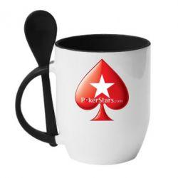 Кружка с керамической ложкой Poker Stars Game - FatLine