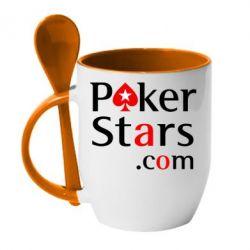 Кружка с керамической ложкой Poker Stars - FatLine