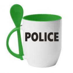 Кружка с керамической ложкой POLICE - FatLine