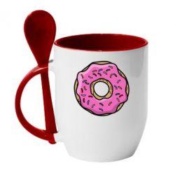 Кружка с керамической ложкой Пончик Гомера - FatLine