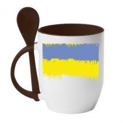 Кружка с керамической ложкой Потертый флаг Украины - FatLine