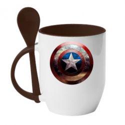 Кружка с керамической ложкой Потрескавшийся щит Капитана Америка - FatLine