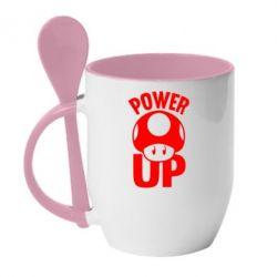 Кружка с керамической ложкой Power Up гриб Марио - FatLine
