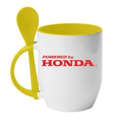 Кружка с керамической ложкой Powered by HONDA - FatLine