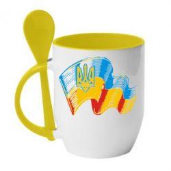 Кружка с керамической ложкой Прапор України з гербом - FatLine