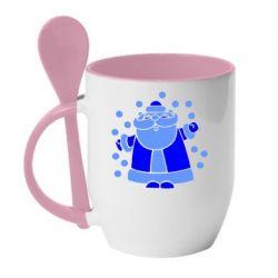 Кружка с керамической ложкой Прикольный дед мороз - FatLine
