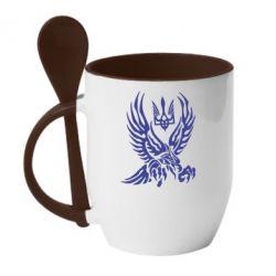 Кружка с керамической ложкой Птах та герб - FatLine