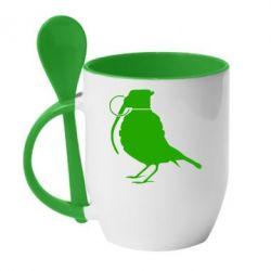 Кружка с керамической ложкой Птичка с гранатой - FatLine