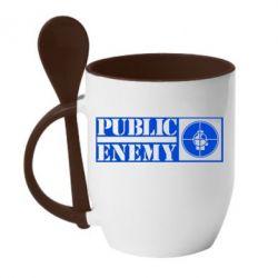 Кружка с керамической ложкой Public Enemy - FatLine