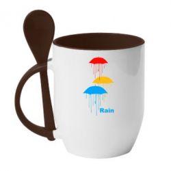 Кружка с керамической ложкой Rain - FatLine