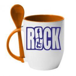 Кружка с керамической ложкой Rock - FatLine