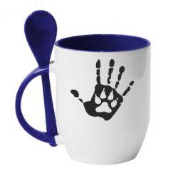 Кружка з керамічною ложкою Рука вовка - FatLine