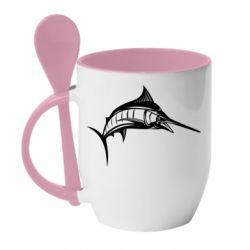 Кружка с керамической ложкой Рыба Марлин - FatLine