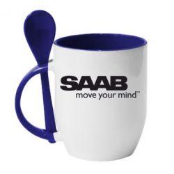 Кружка с керамической ложкой SAAB - FatLine