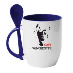 Кружка с керамической ложкой Sam Winchester - FatLine