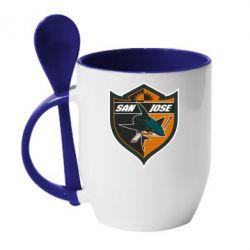 Кружка с керамической ложкой San Jose Sharks - FatLine
