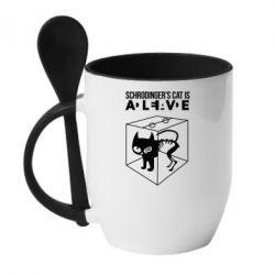 Кружка с керамической ложкой Schrodinger's cat is alive - FatLine