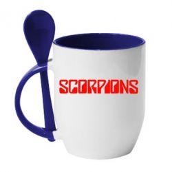 Кружка с керамической ложкой Scorpions - FatLine