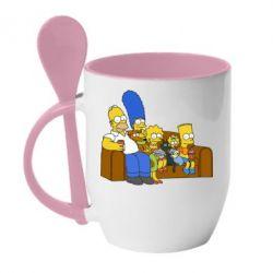Кружка с керамической ложкой Семейство Симпсонов - FatLine