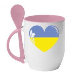 Кружка с керамической ложкой Сердце України - FatLine