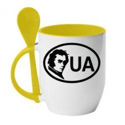 Кружка с керамической ложкой Shevchenko UA - FatLine
