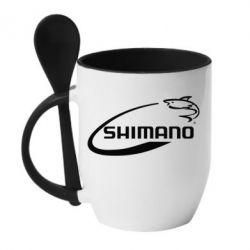 Кружка с керамической ложкой Shimano - FatLine