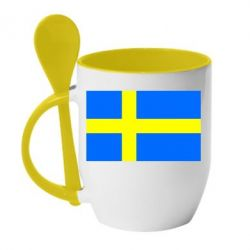 Кружка с керамической ложкой Швеция - FatLine