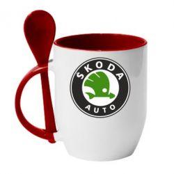 Кружка с керамической ложкой Skoda Auto - FatLine