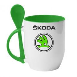 Кружка с керамической ложкой Skoda Bird - FatLine