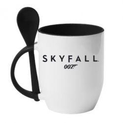 Кружка с керамической ложкой Skyfall 007 - FatLine
