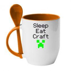Кружка с керамической ложкой Sleep,eat, craft - FatLine