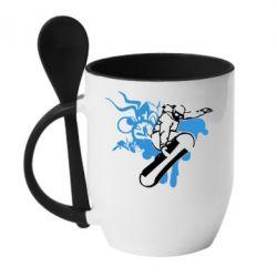 Кружка с керамической ложкой Сноуборд - FatLine