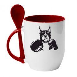 Кружка с керамической ложкой Собака в боксерских перчатках - FatLine