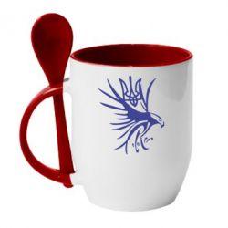 Кружка с керамической ложкой Сокіл та герб України - FatLine