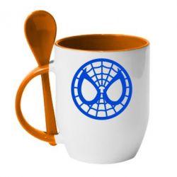 Кружка с керамической ложкой Спайдермен лого - FatLine